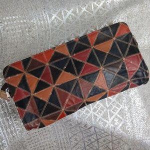 Vintage Patchwork Leather Slim Clutch